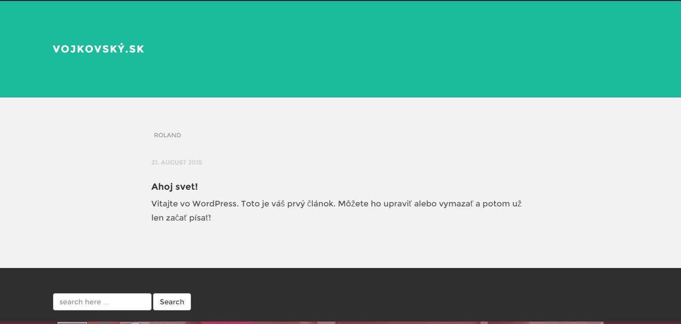 Screenshot toho, ako vyzerá webová stránka po inštalácii WordPressu.