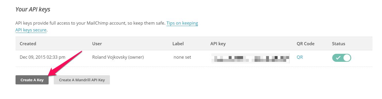 MailChimp: Ako získať API kľúč