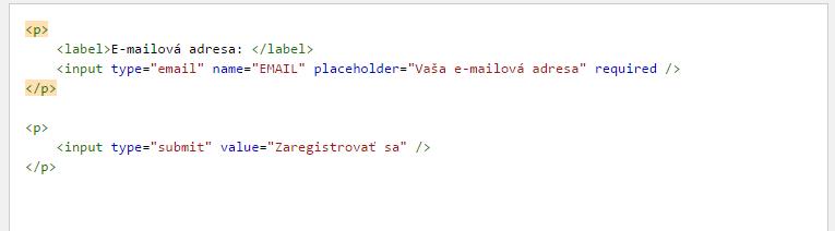 MailChimp html kód