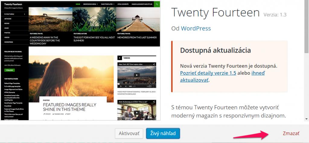 Návod ako mazať témy v systéme WordPress