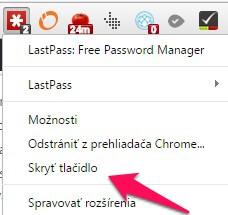 Ako skryť tlačidlá rozšírení v Google Chrome