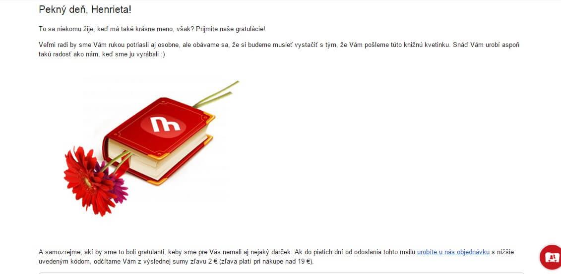 Skvelý príklad email marketingu od kníhkupectva Martinus