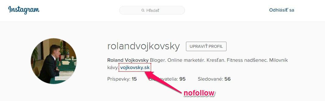 Chrome rozšírenie NoFollow a Instagram