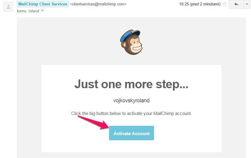 Ako aktivovať MailChimp účet