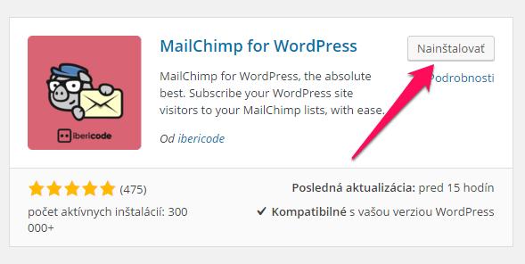 WordPress plugin na tvorbu MailChimp formulárov