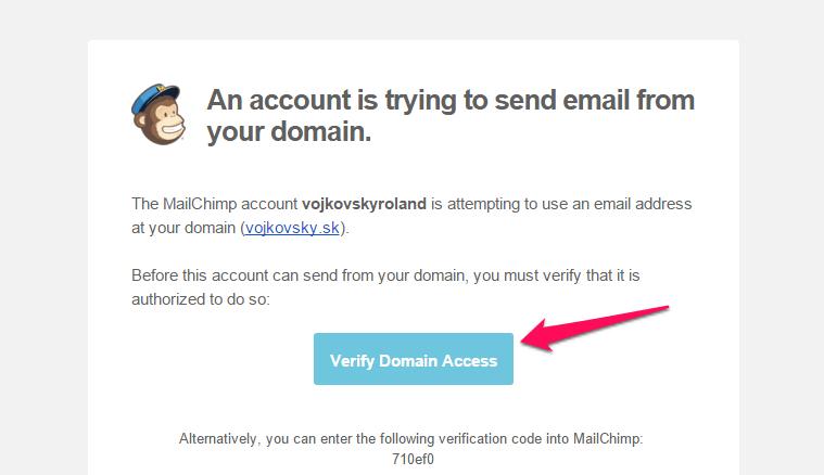 Overenie emailovej adresy v MailChimp