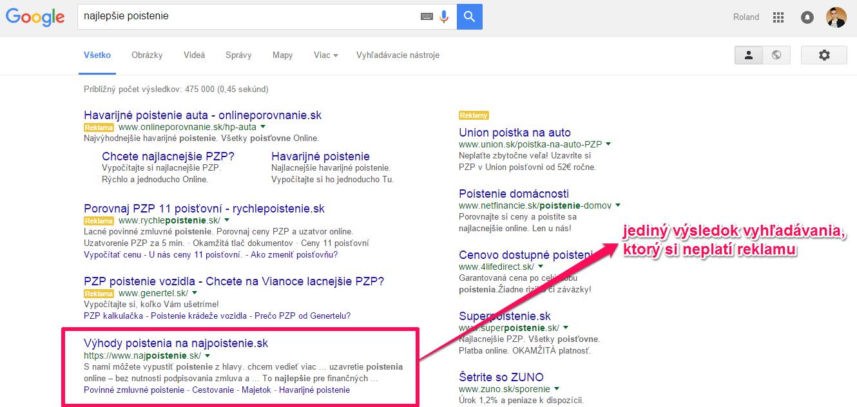 Reklama Google vo výsledkoch vyhľadávania