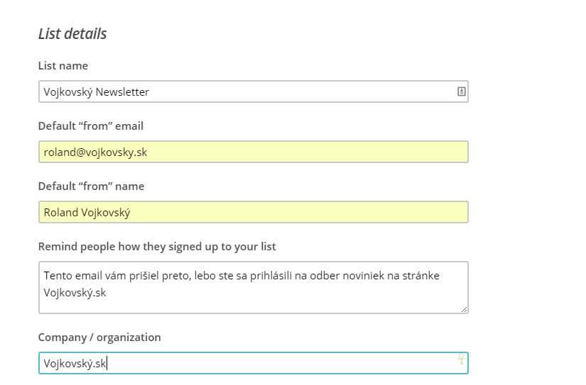 Vytváranie zoznamu email odberateľov v MailChimp